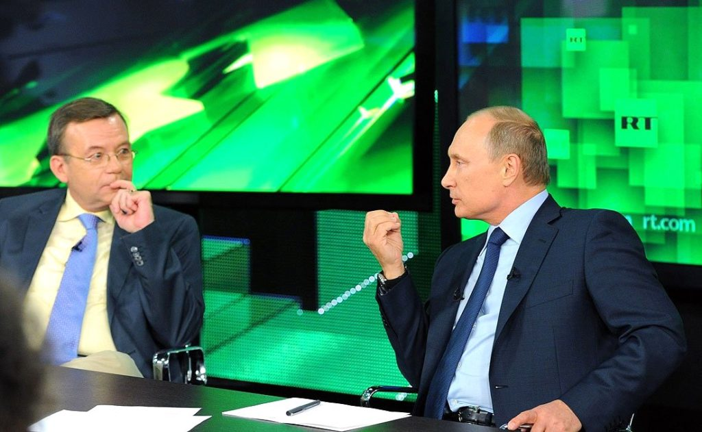 "Wladmir Putin beim TV-Sender ""Russia Today"""
